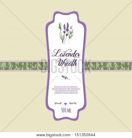 Lavender Product Label Vector Template Bottle Or Soap Sticker Design For Cosmetics Package