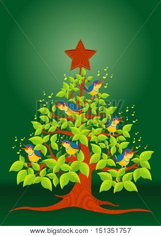 Christmas tree with colorful birds singing and wooden star on green background - Vector image