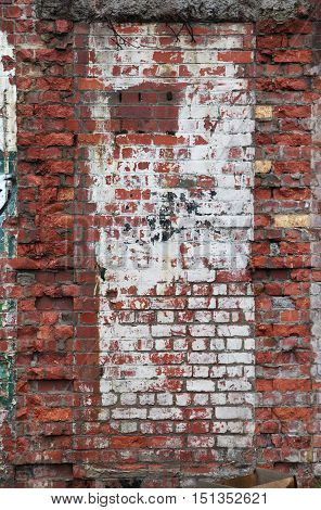 Rough textured old brick wall urban background