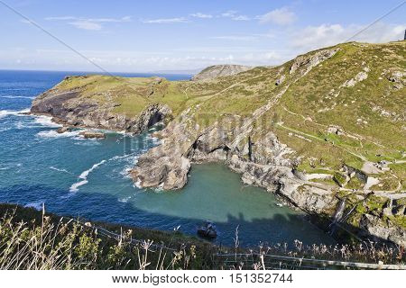 View of the coastline from Tintagel castle Cornwall England United Kingdom