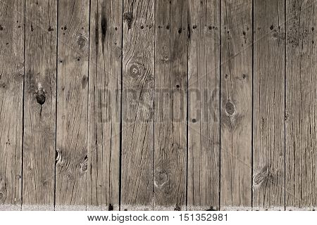 Old weathered wooden boards background with nail holes