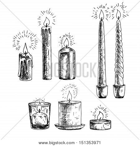 Hand drawn set of candles. Retro sketches isolated. Christmas festive collection. Doodle line graphic design. Vector vintage black and white images. Vector illustration.