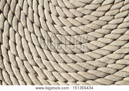 Old white rope closeup in sunny day