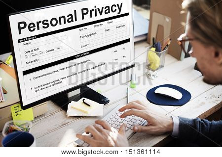 Personal Privacy Information Data Application Form Concept