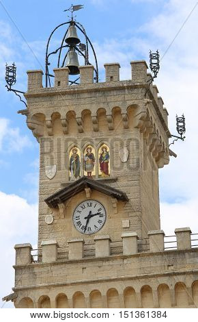 Detail Of The Clock Tower In San Marino State