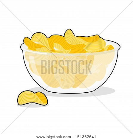 Potato Chips In Bowl. Fried Potatoes In Deep Transparent Plate. Delicious Yellow Snack