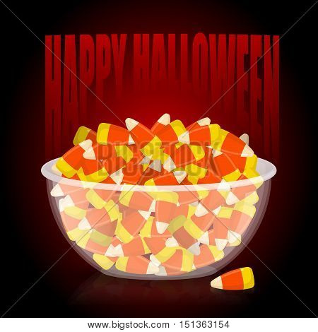 Happy Halloween. Bowl And Candy Corn. Sweets On Plate. Traditional Treat For Terrible Holiday.