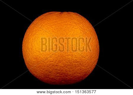 Large orange isolated against a black background