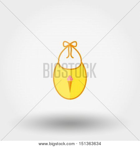 Bib. Newborn clothes. Icon for web and mobile application. Vector illustration on a white background. Flat design style