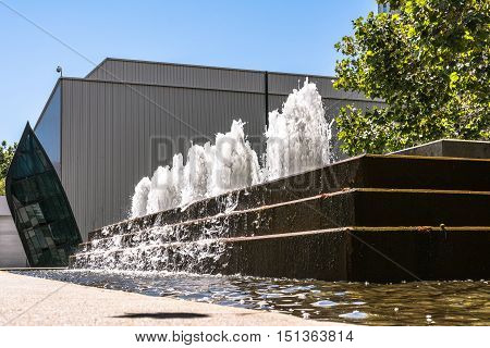 San Francisco,California,USA - August  2, 2016 : View of the Fountain at Yerba Buena Gardens