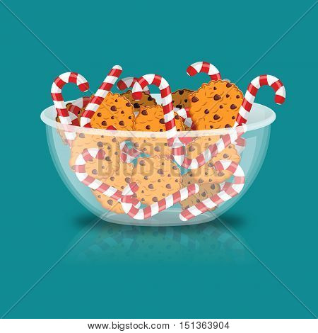 Peppermint Christmas Candy And Cookies In Glass Bowl. Cookie In Deep Transparent Plate. Oat Biscuits