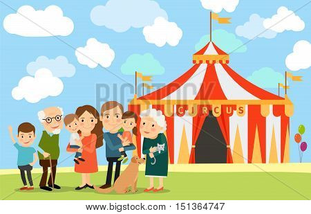 Big family standing near circus. Vector illustration