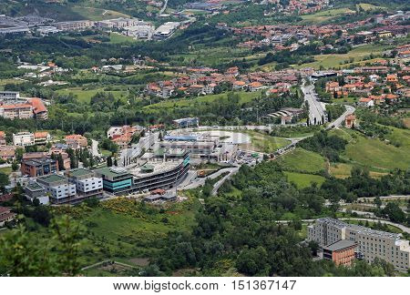 beautiful view of the Apennines Mountains and the buildings of the state of San Marino