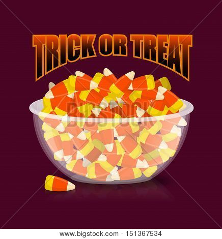 Trick Or Treat. Halloween Illustration. Bowl And Candy Corn. Sweets On Plate. Traditional Treat For