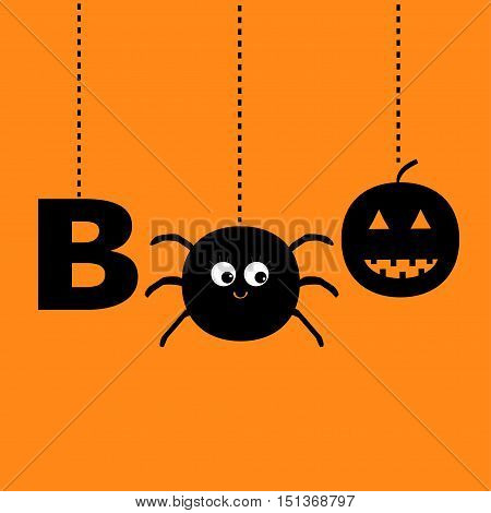 Hanging word BOO text with smiling sad black pumpkin spider insect silhouette. Happy Halloween greeting card. Dash line thread. Flat design. Orange baby background. Vector illustration