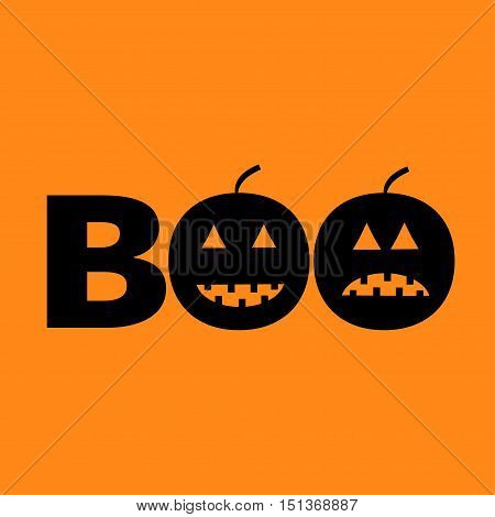 Word BOO text with smiling sad black pumpkin silhouette. Happy Halloween. Greeting card. Flat design. Orange baby background. Vector illustration