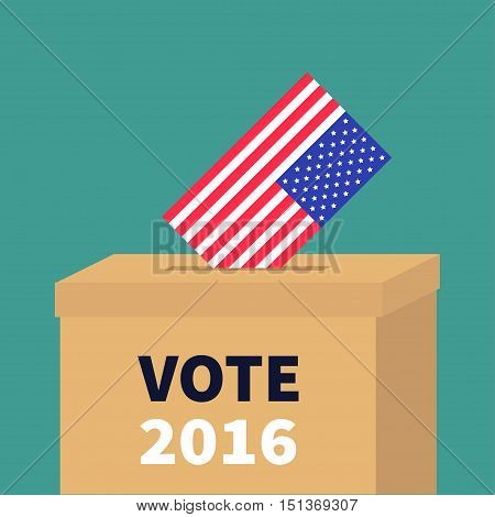 President election day Vote 2016. Ballot Voting box with American flag paper blank bulletin concept. Polling station. Isolated Green background Flat design Card Vector illustration