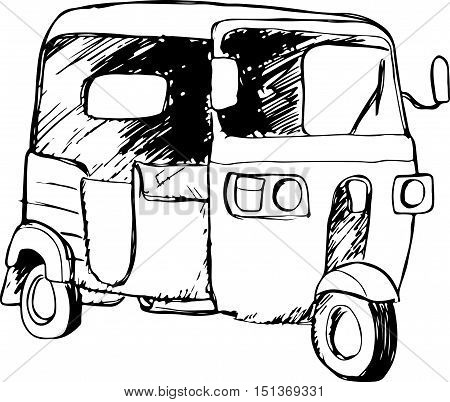 Vector graphic of a traditional taxi in Indonesia known as Bajaj