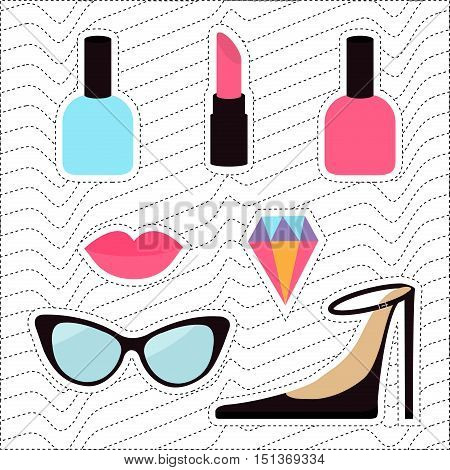 Quirky cartoon sticker patch badge set. Woman Fashion pin. Lipstick diamond gem shoes lips sunglasses eye glasses nail polish White black wave dash line optical background Flat design Vector