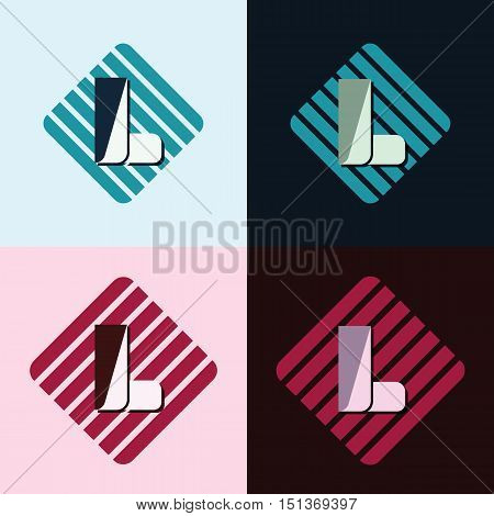 letter L company identification logo bright and dark bg vector illustration