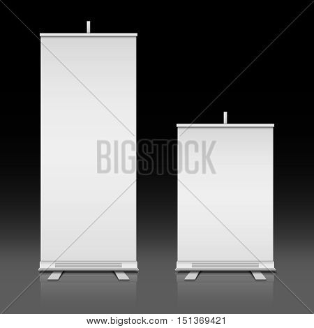 Blank white roll up standing vector banners set. Presentation board for exhibition or promotion illustration