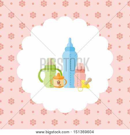 Set of baby feeding bottles, pacifier. Flat vector illustration on floral pattern. Can be used for design greeting card, invitation or banner. All the elements can be used as icons for mobile applications or logos