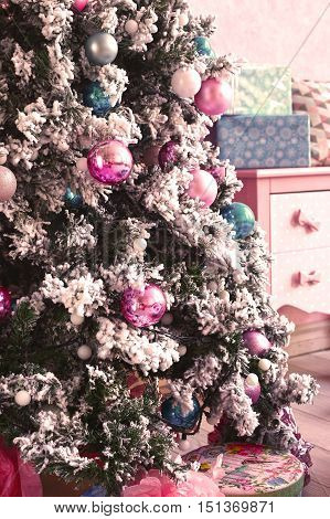 pink room with christmas new year decoration with tree box present and car