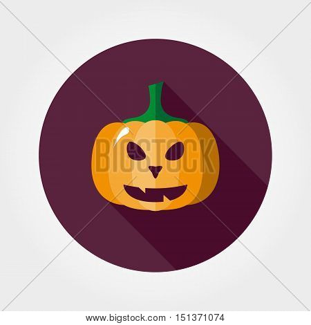 Halloween pumpkin. Icon for web and mobile application. Vector illustration of a button with a long shadow. Flat design style.