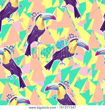 toucan print, print illustration, pattern print abstract bird, tropical bird vector seamless. Beautiful print pattern tropical theme. Design of a tropical bird seamless. toucan vector seamless