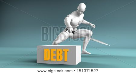 Cutting Debt and Cut or Reduce Concept 3D Render