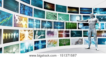 Video Wall on White Background with Man Changing Channels 3D Render