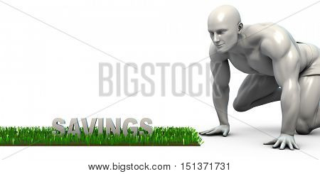 Savings Concept with Man Looking Closely to Verify 3D Render