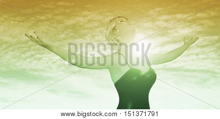 Embrace Change with Lady Arms Wide Open and Being Positive 3d Illustration Render