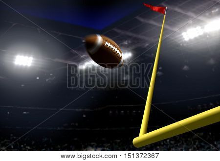 Football goal score in a stadium at night