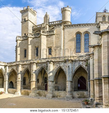 Courtyard of Cathedral Saint Nazaire in Beziers