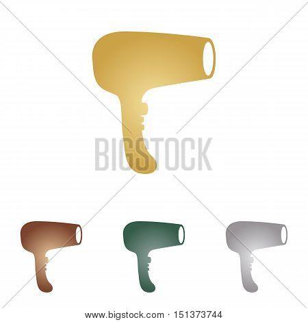 Hair Dryer Sign. Metal Icons On White Backgound.