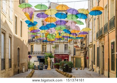BEZIERS,FRANCE - AUGUST 27,2016 - In the streets of Beziers. Beziers is a town in Languedoc in southern France.