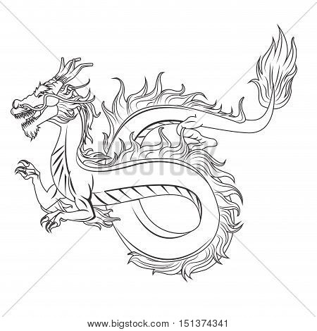 Dragon cartoon icon. Chinese asian fantasy and animal theme. Isolated and silhouette design. Vector illustration