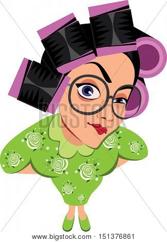 woman in hair curlers, cute housewife in curlers rollers, funny characters housewife, face woman