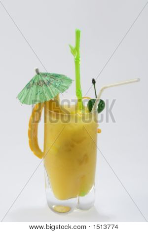Yellow Drink With Green Umbrella On White Background