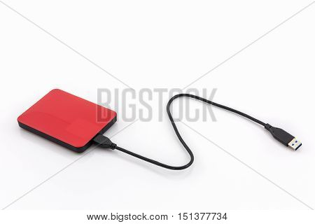 External hard drive for backup on white background.