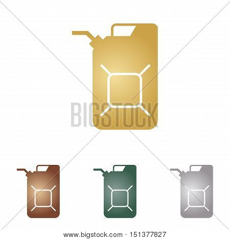 Jerrycan Oil Sign. Jerry Can Oil Sign. Metal Icons On White Backgound.