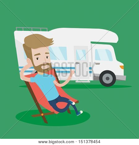 Hipster man with the beard man sitting in a folding chair and giving thumb up on the background of camper van. Young man enjoying vacation in camper van. Vector flat design illustration. Square layout
