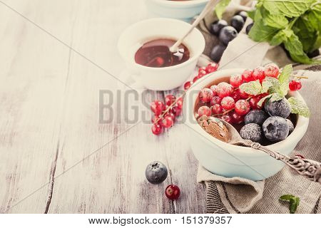 Delicious chocolate dessert with berries and mint served in ramekin. Retro style toned. Copy space