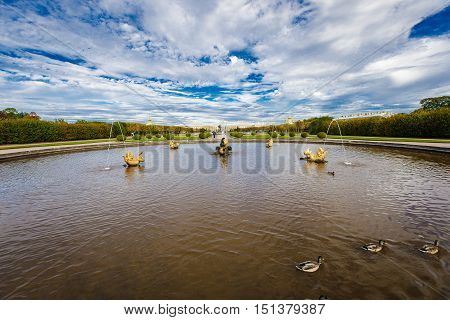 Monument of world architecture and palace-park art of XVIII-XIX centuries Museum-Reserve Peterhof September 14 2016 St. Petersburg Russia