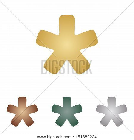 Asterisk Star Sign. Metal Icons On White Backgound.