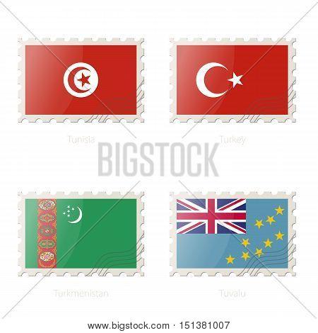 Postage Stamp With The Image Of Tunisia, Turkey, Turkmenistan, Tuvalu Flag.
