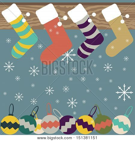 Christmas and New Year festive background of Christmas stockings hanging on mantel, snowflakes and varicolored Christmas balls. Vector illustration for celebratory design
