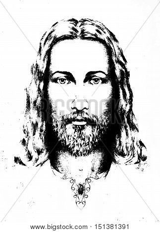 graphic drawing of Jesus, with ornament on clothing. Eye contact. Spiritual concept