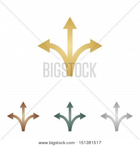 Three-way Direction Arrow Sign. Metal Icons On White Backgound.